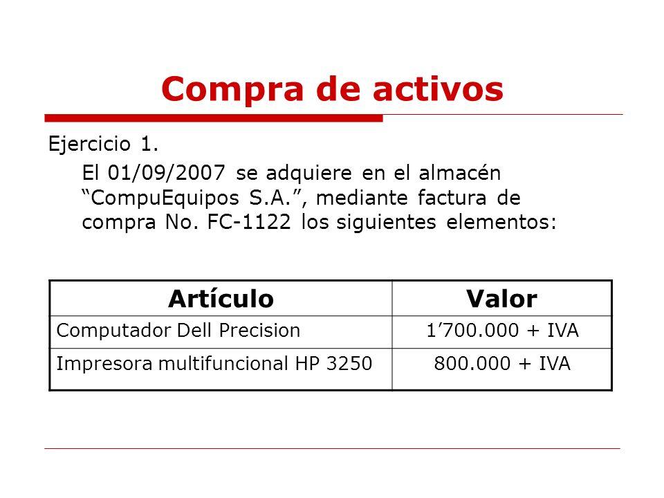 Ejercicio 2.Consulte los activos fijos que posee la empresa a la fecha 03/09/2007.