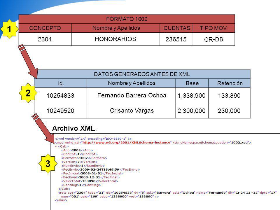 CASO PRÁCTICO: MP COMPUTADORES LTDA Formato 1002: Retenciones en la fuente practicadas: 1.