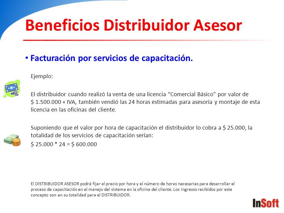 Beneficios Distribuidor Asesor Facturación por servicios de capacitación. El DISTRIBUIDOR ASESOR podrá fijar el precio por hora y el número de horas n