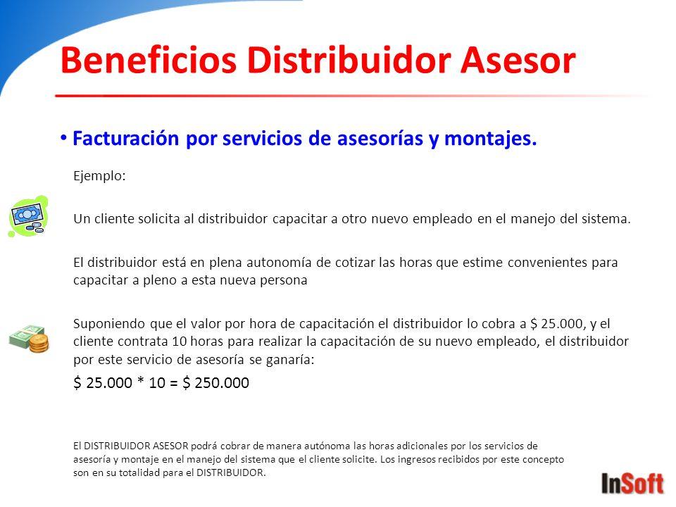 Beneficios Distribuidor Asesor Facturación por servicios de asesorías y montajes. El DISTRIBUIDOR ASESOR podrá cobrar de manera autónoma las horas adi