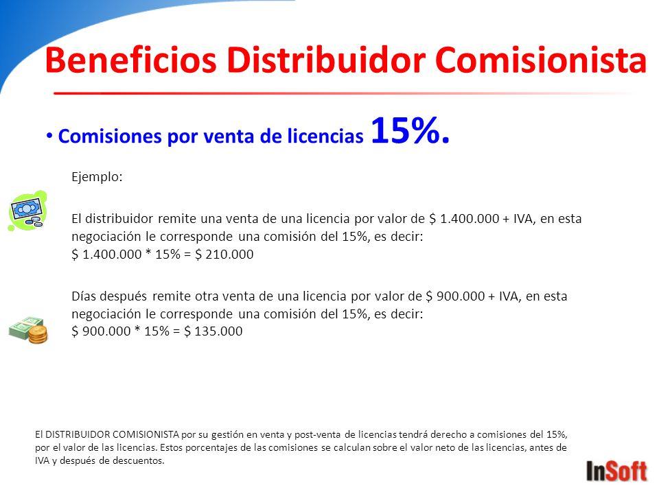 Beneficios Distribuidor Comisionista Comisiones por venta de licencias 15%. El DISTRIBUIDOR COMISIONISTA por su gestión en venta y post-venta de licen