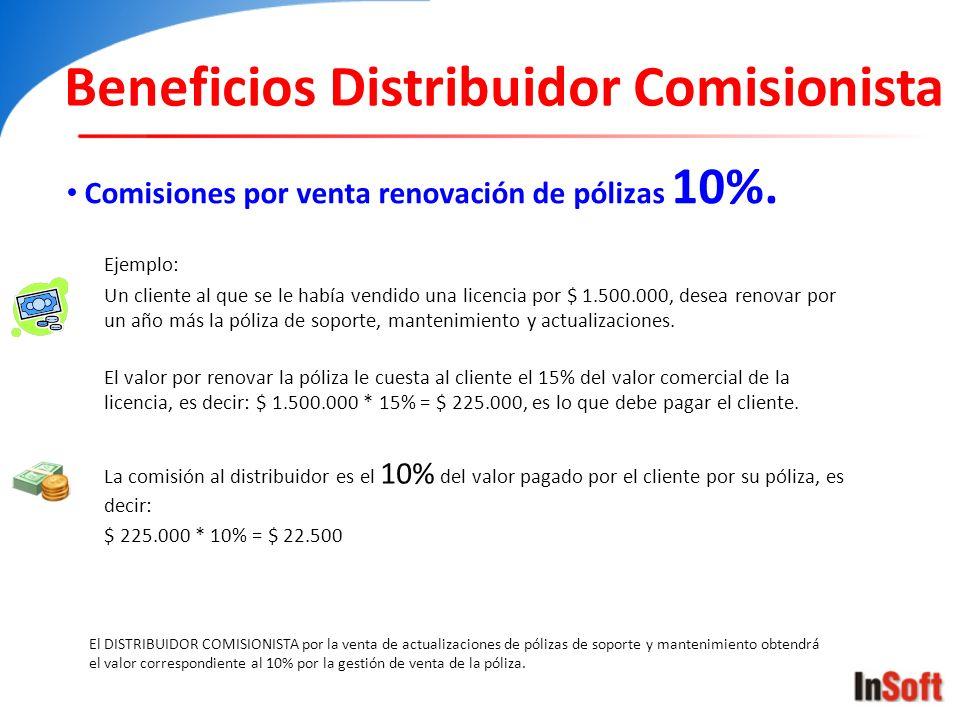 Beneficios Distribuidor Comisionista Comisiones por venta renovación de pólizas 10%. El DISTRIBUIDOR COMISIONISTA por la venta de actualizaciones de p