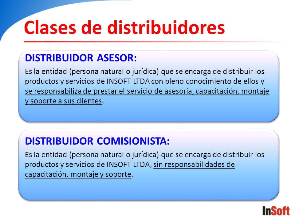 Clases de distribuidores DISTRIBUIDOR ASESOR: Es la entidad (persona natural o jurídica) que se encarga de distribuir los productos y servicios de INS