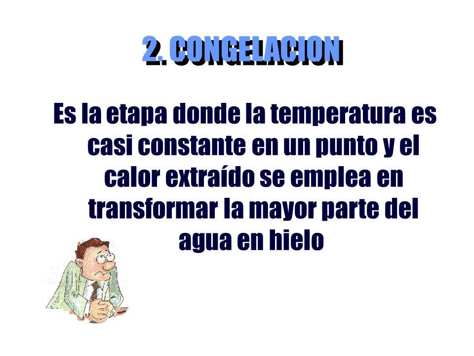 2. CONGELACION Es la etapa donde la temperatura es casi constante en un punto y el calor extraído se emplea en transformar la mayor parte del agua en