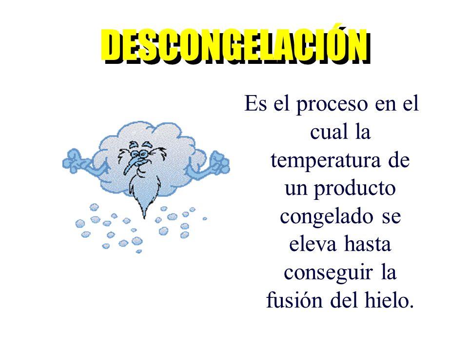 Es el proceso en el cual la temperatura de un producto congelado se eleva hasta conseguir la fusión del hielo. DESCONGELACIÓN