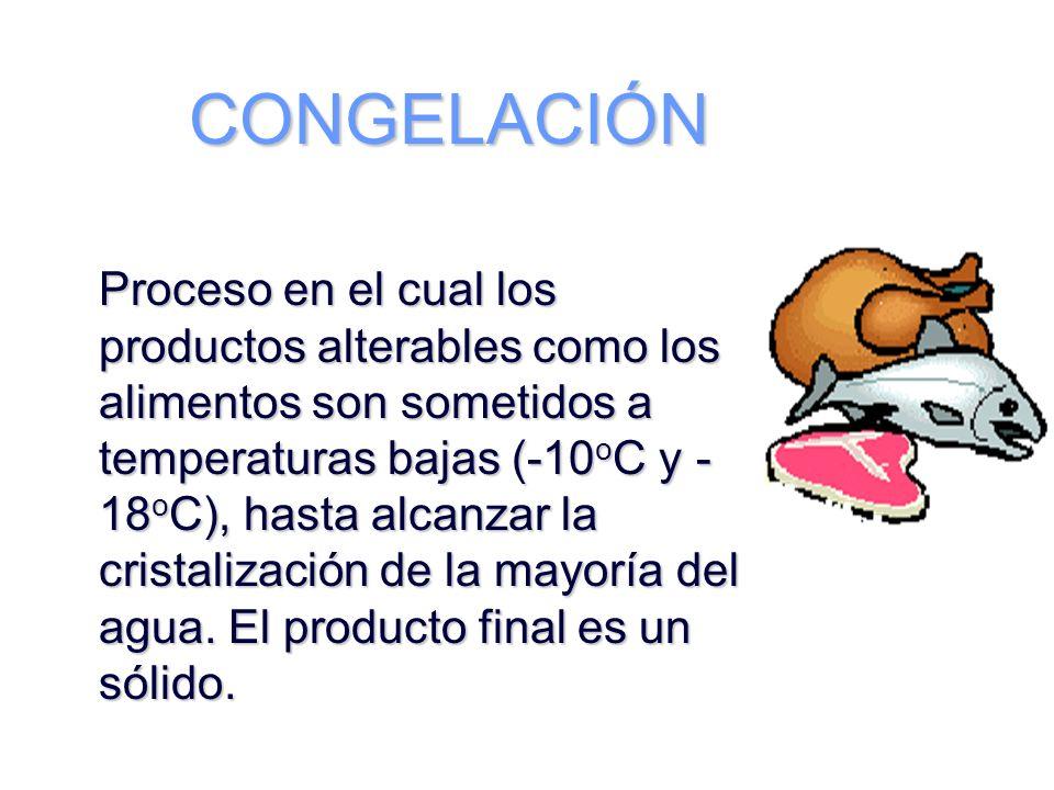 CONGELACIÓN Proceso en el cual los productos alterables como los alimentos son sometidos a temperaturas bajas (-10 o C y - 18 o C), hasta alcanzar la