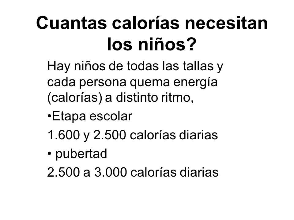 Cuantas calorías necesitan los niños? Hay niños de todas las tallas y cada persona quema energía (calorías) a distinto ritmo, Etapa escolar 1.600 y 2.