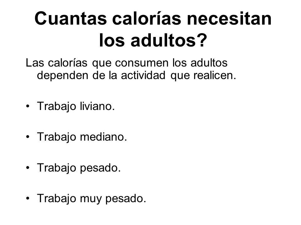 Cuantas calorías necesitan los adultos? Las calorías que consumen los adultos dependen de la actividad que realicen. Trabajo liviano. Trabajo mediano.