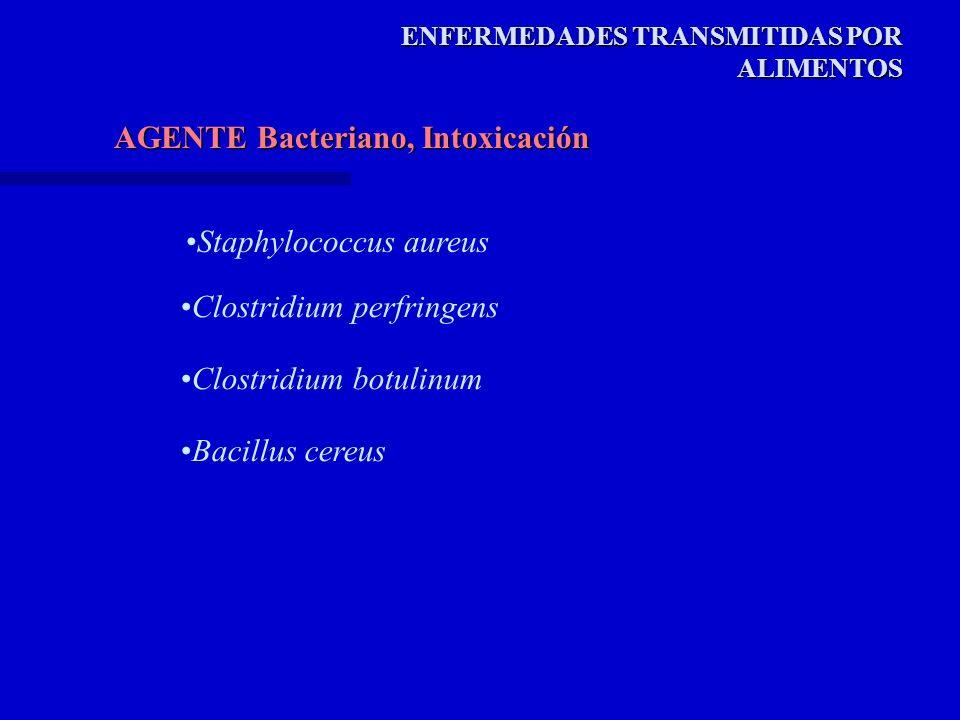 AGENTE Bacteriano, Intoxicación ENFERMEDADES TRANSMITIDAS POR ALIMENTOS Staphylococcus aureus Clostridium perfringens Clostridium botulinum Bacillus cereus