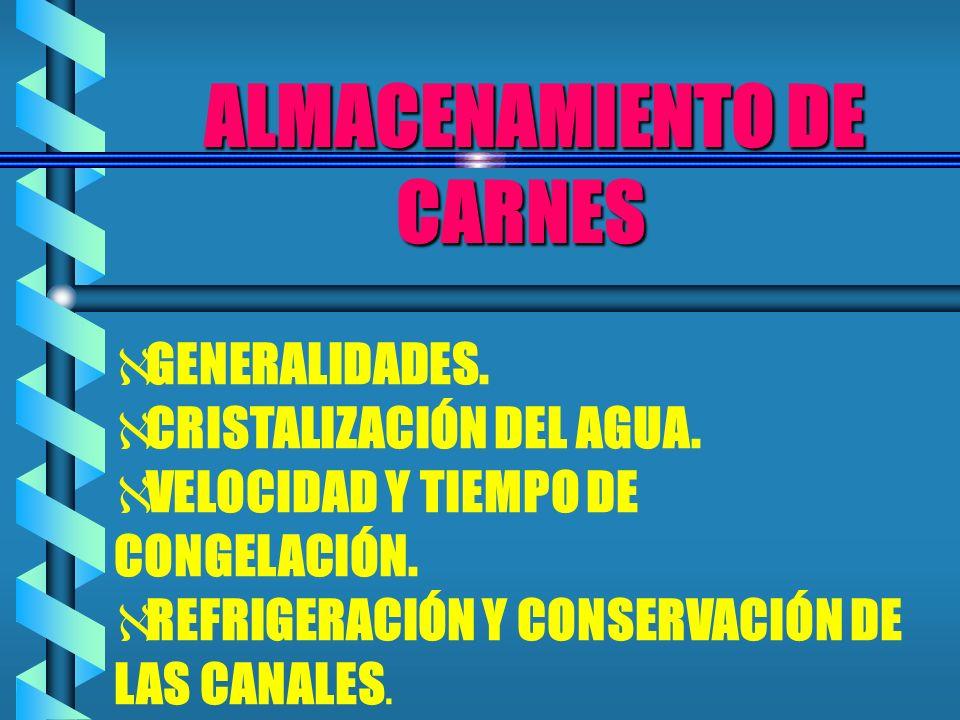 ALMACENAMIENTO DE CARNES ALMACENAMIENTO DE CARNES GENERALIDADES. CRISTALIZACIÓN DEL AGUA. VELOCIDAD Y TIEMPO DE CONGELACIÓN. REFRIGERACIÓN Y CONSERVAC