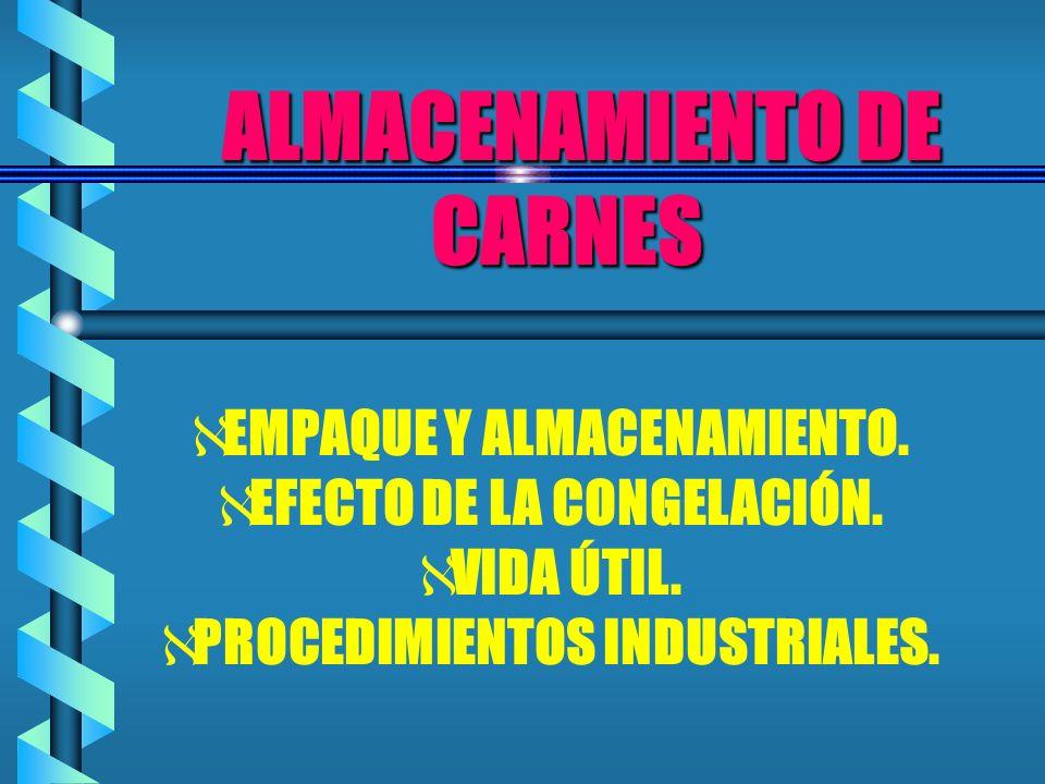 ALMACENAMIENTO DE CARNES ALMACENAMIENTO DE CARNES EMPAQUE Y ALMACENAMIENTO. EFECTO DE LA CONGELACIÓN. VIDA ÚTIL. PROCEDIMIENTOS INDUSTRIALES.