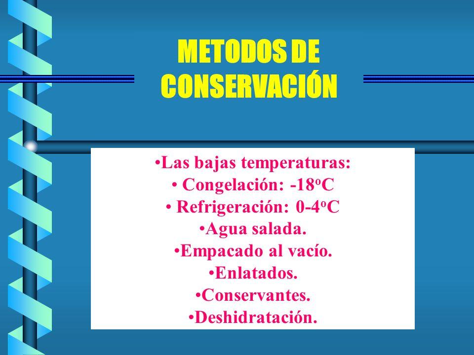 Las bajas temperaturas: Congelación: -18 o C Refrigeración: 0-4 o C Agua salada. Empacado al vacío. Enlatados. Conservantes. Deshidratación. METODOS D