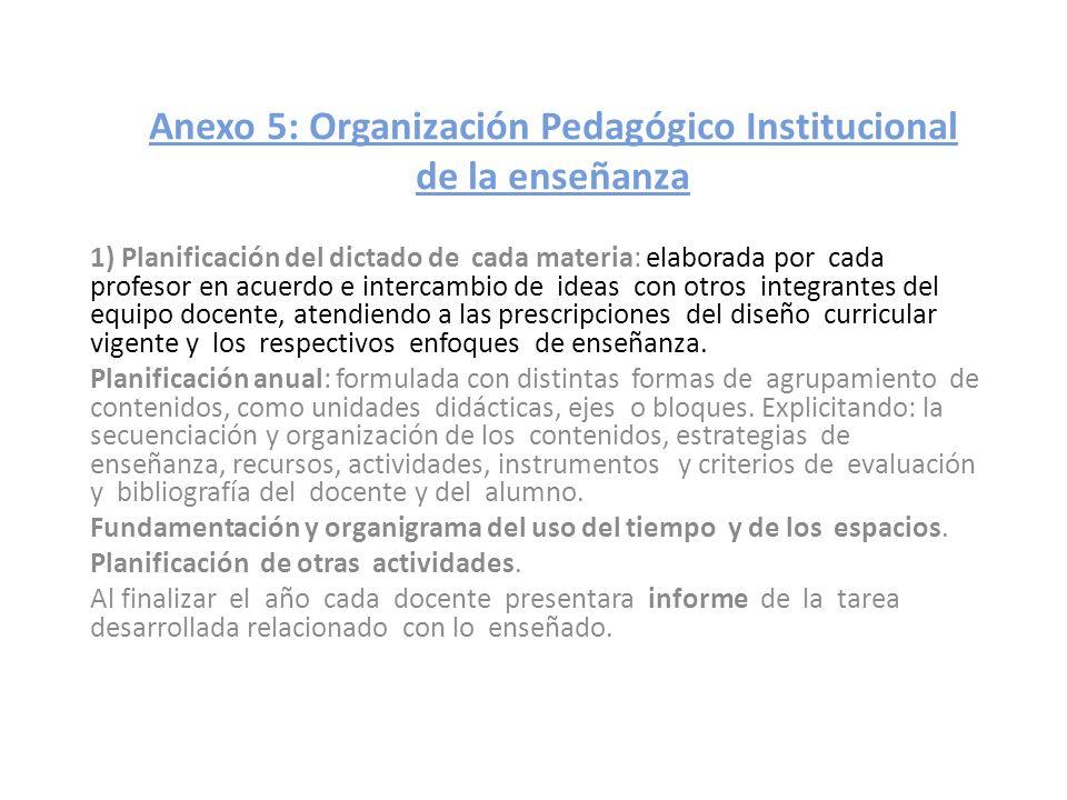 Anexo 5: Organización Pedagógico Institucional de la enseñanza 1) Planificación del dictado de cada materia: elaborada por cada profesor en acuerdo e