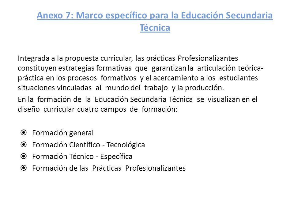 Anexo 7: Marco específico para la Educación Secundaria Técnica Integrada a Ia propuesta curricular, las prácticas Profesionalizantes constituyen estra