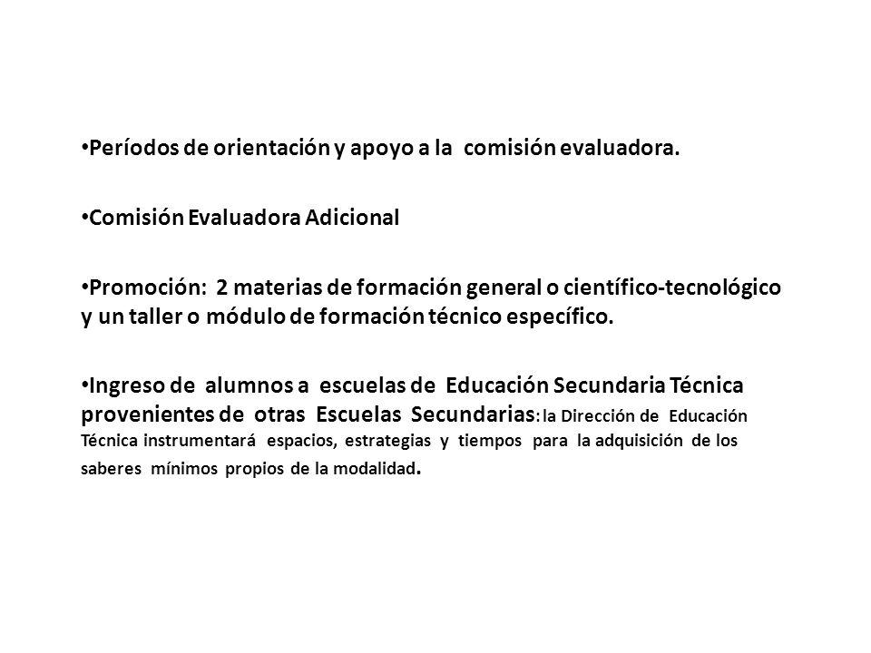 Períodos de orientación y apoyo a la comisión evaluadora. Comisión Evaluadora Adicional Promoción: 2 materias de formación general o científico-tecnol