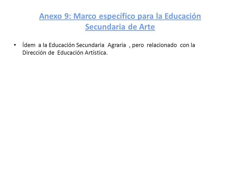 Anexo 9: Marco específico para la Educación Secundaria de Arte Ídem a la Educación Secundaria Agraria, pero relacionado con la Dirección de Educación