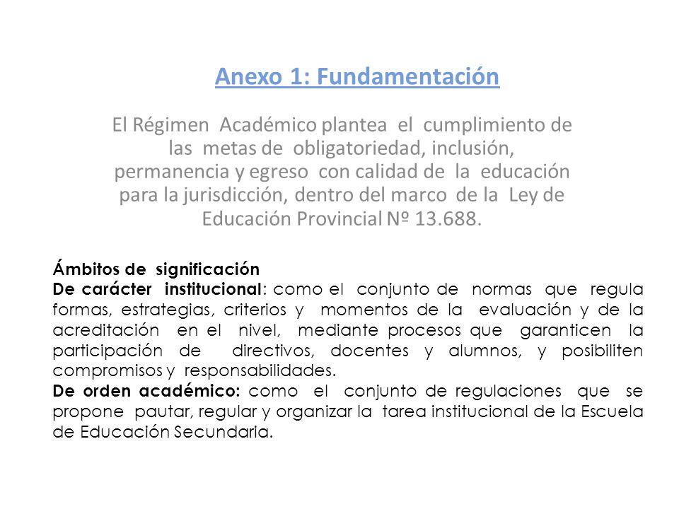 Anexo 1: Fundamentación El Régimen Académico plantea el cumplimiento de las metas de obligatoriedad, inclusión, permanencia y egreso con calidad de la