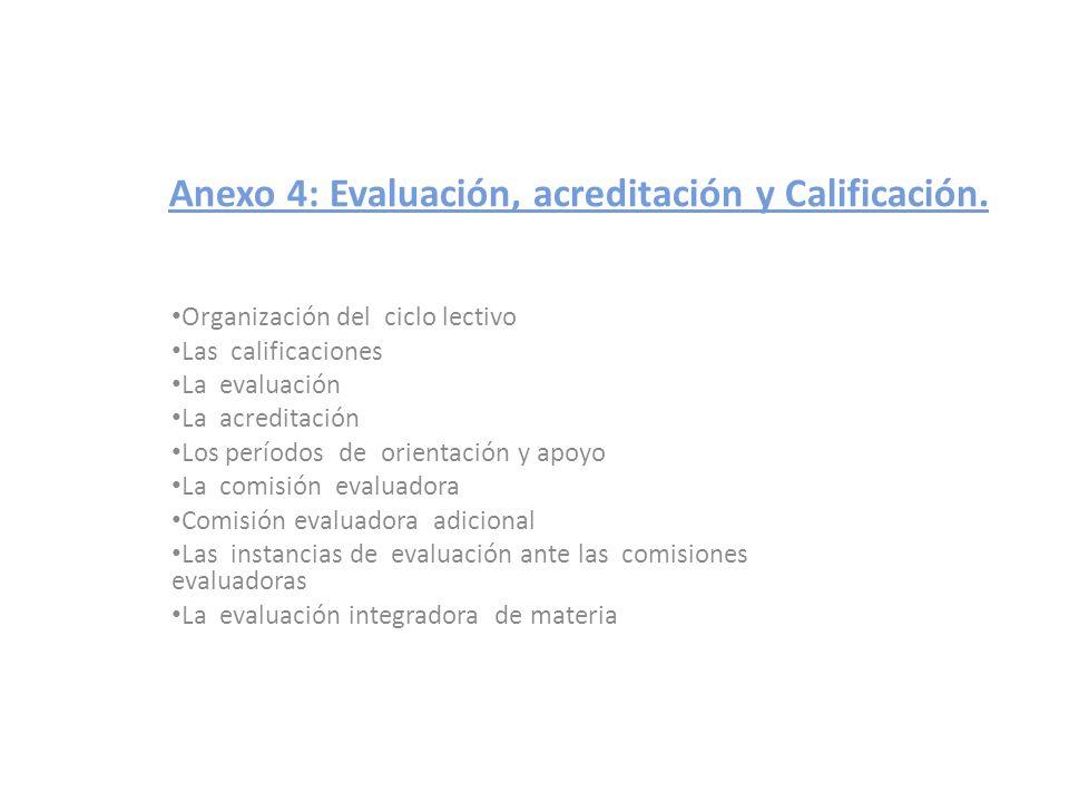 Anexo 4: Evaluación, acreditación y Calificación. Organización del ciclo lectivo Las calificaciones La evaluación La acreditación Los períodos de orie