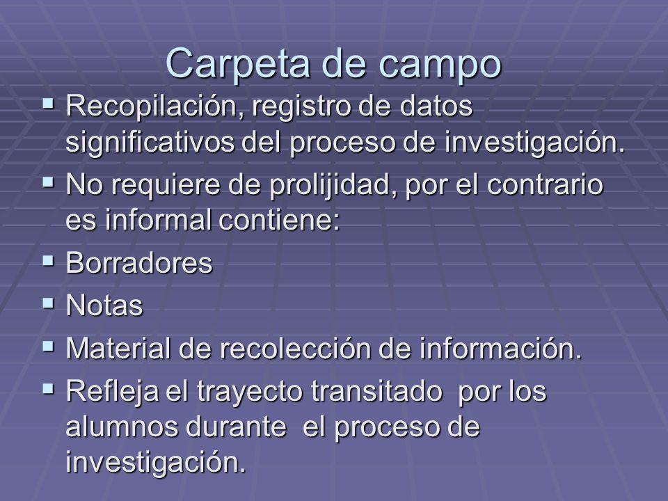 Carpeta de campo Recopilación, registro de datos significativos del proceso de investigación.