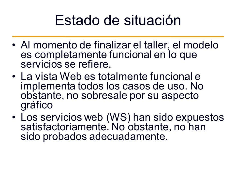 Estado de situación Al momento de finalizar el taller, el modelo es completamente funcional en lo que servicios se refiere.
