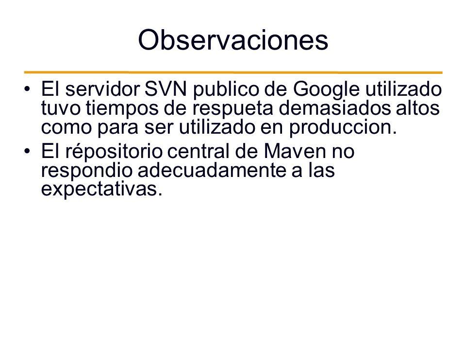 Observaciones El servidor SVN publico de Google utilizado tuvo tiempos de respueta demasiados altos como para ser utilizado en produccion.
