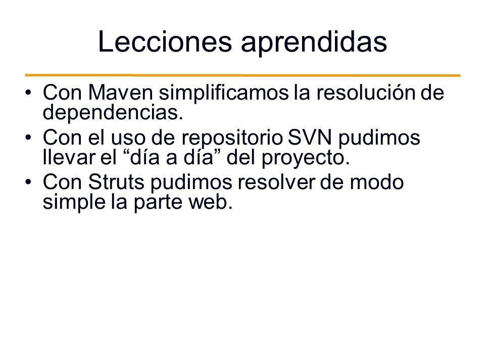 Lecciones aprendidas Con Maven simplificamos la resolución de dependencias.