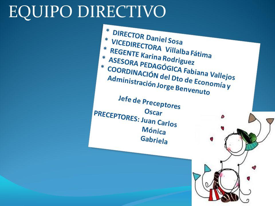 * DIRECTOR Daniel Sosa * VICEDIRECTORA Villalba Fátima * REGENTE Karina Rodriguez * ASESORA PEDAGÓGICA Fabiana Vallejos * COORDINACIÓN del Dto de Econ
