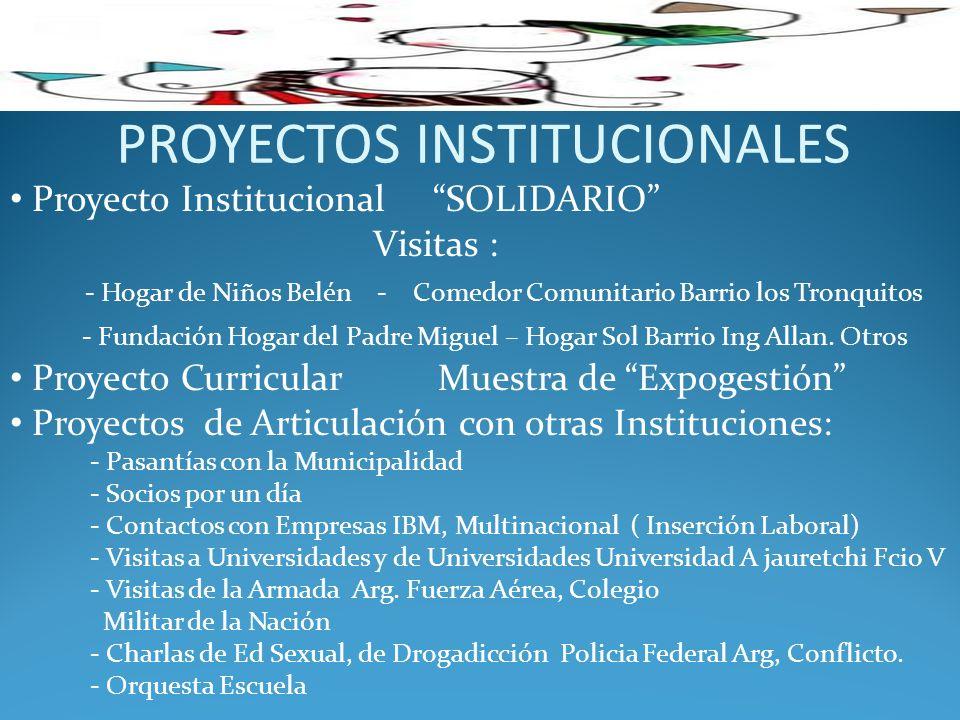 PROYECTOS INSTITUCIONALES Proyecto Institucional SOLIDARIO Visitas : - Hogar de Niños Belén - Comedor Comunitario Barrio los Tronquitos - Fundación Ho