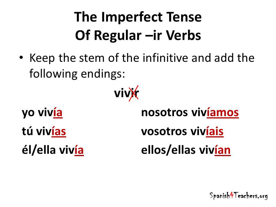 The Imperfect Tense Of Regular –ir Verbs Spanish4Teachers.org Keep the stem of the infinitive and add the following endings: vivir yo vivía nosotros v