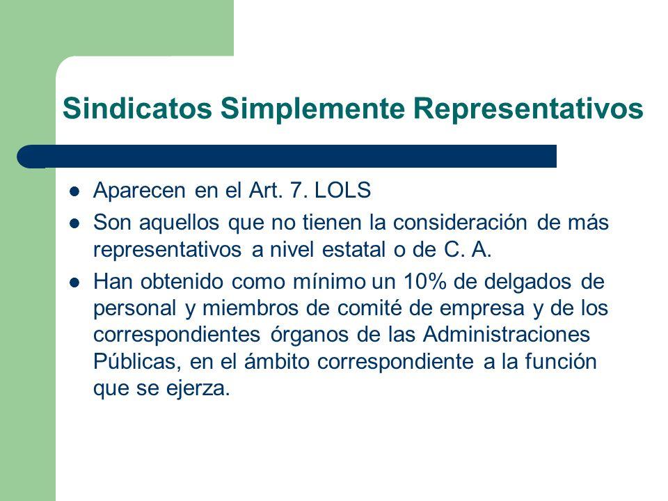 Sindicatos Simplemente Representativos Aparecen en el Art. 7. LOLS Son aquellos que no tienen la consideración de más representativos a nivel estatal