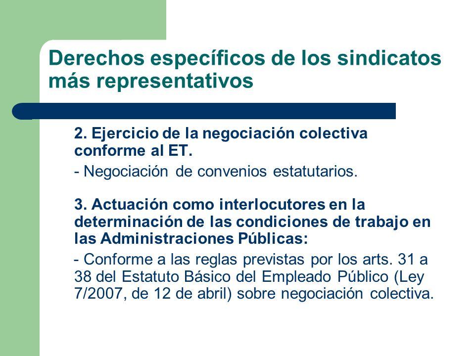 Derechos específicos de los sindicatos más representativos 2. Ejercicio de la negociación colectiva conforme al ET. - Negociación de convenios estatut