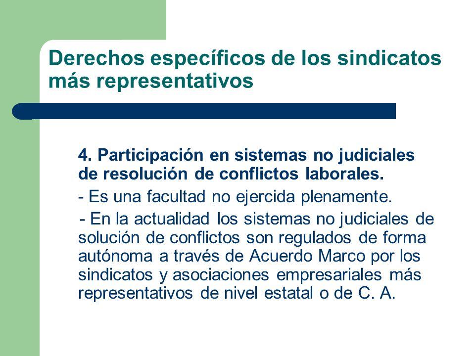 Derechos específicos de los sindicatos más representativos 4. Participación en sistemas no judiciales de resolución de conflictos laborales. - Es una