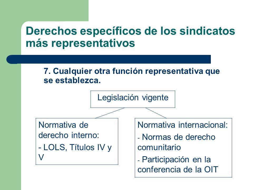 Derechos específicos de los sindicatos más representativos 7. Cualquier otra función representativa que se establezca. Normativa de derecho interno: -
