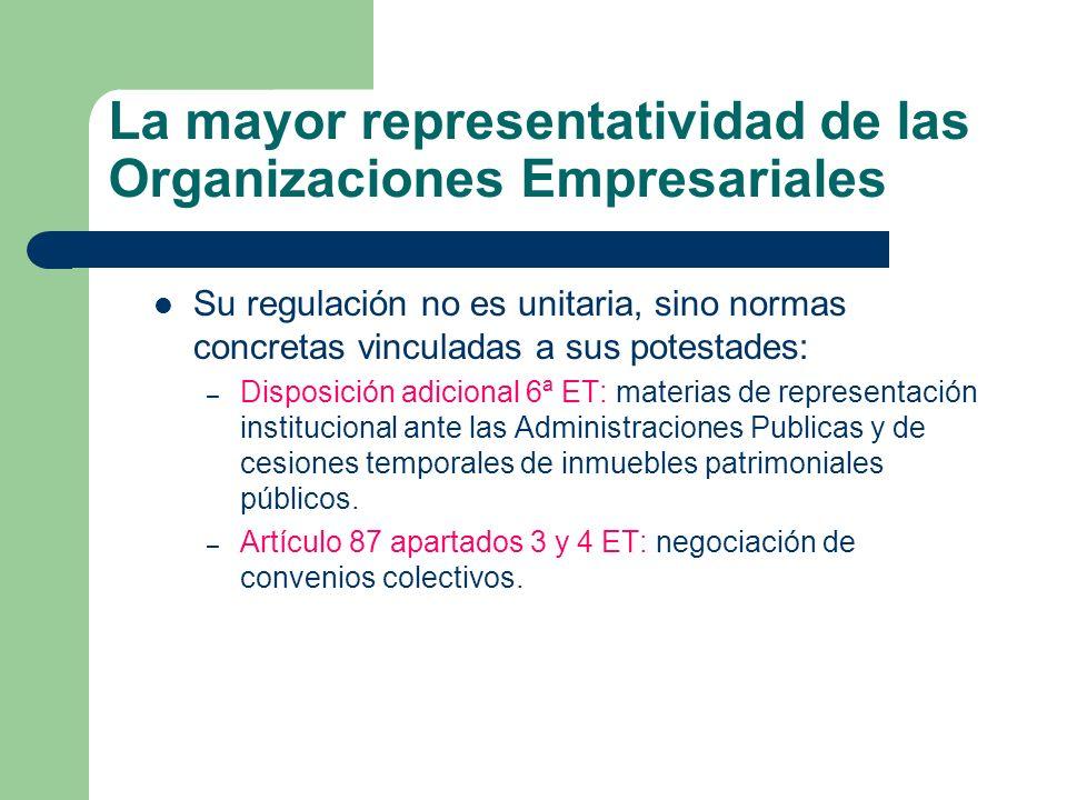La mayor representatividad de las Organizaciones Empresariales Su regulación no es unitaria, sino normas concretas vinculadas a sus potestades: – Disp