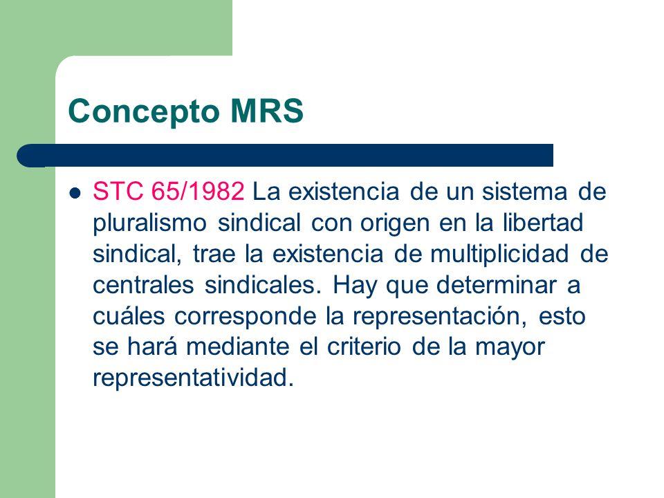 Concepto MRS STC 65/1982 La existencia de un sistema de pluralismo sindical con origen en la libertad sindical, trae la existencia de multiplicidad de