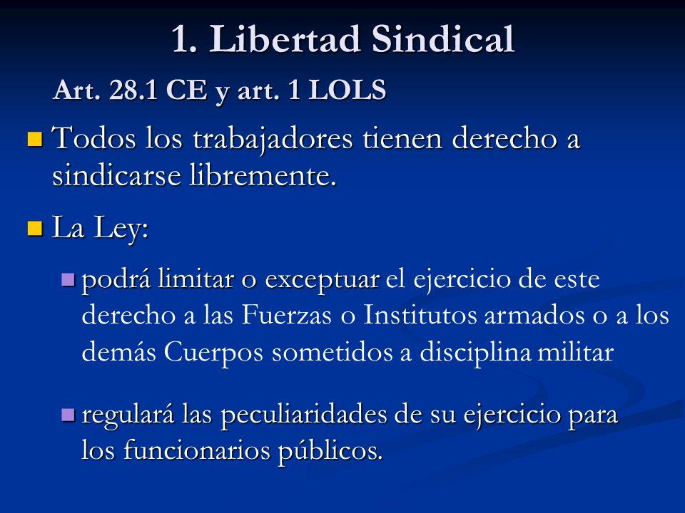 1. Libertad Sindical Todos los trabajadores tienen derecho a sindicarse libremente. Todos los trabajadores tienen derecho a sindicarse libremente. La