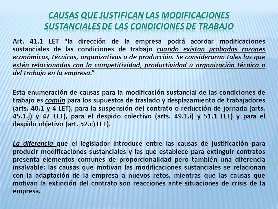 Art. 41.1 LET la dirección de la empresa podrá acordar modificaciones sustanciales de las condiciones de trabajo cuando existan probadas razones econó