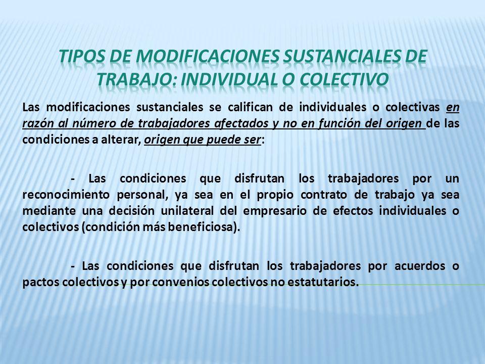 Las modificaciones sustanciales se califican de individuales o colectivas en razón al número de trabajadores afectados y no en función del origen de l