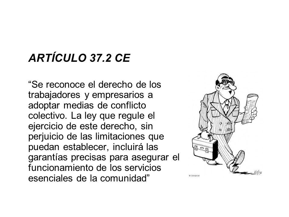 ARTÍCULO 37.2 CE Se reconoce el derecho de los trabajadores y empresarios a adoptar medias de conflicto colectivo. La ley que regule el ejercicio de e