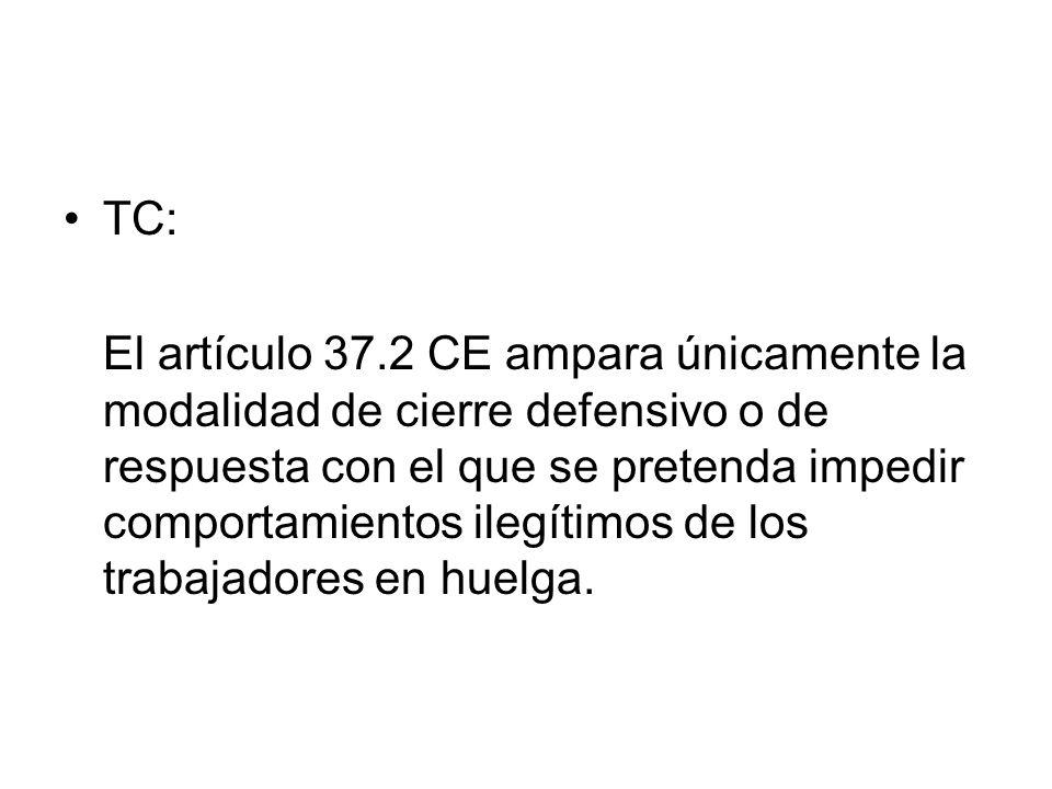 TC: El artículo 37.2 CE ampara únicamente la modalidad de cierre defensivo o de respuesta con el que se pretenda impedir comportamientos ilegítimos de
