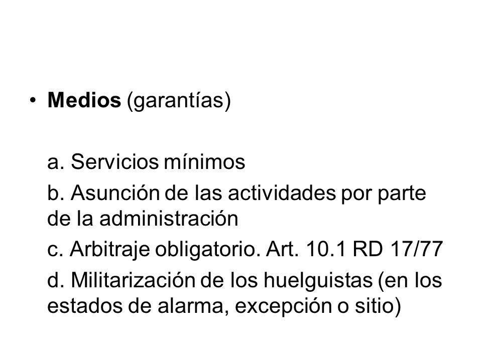 Medios (garantías) a. Servicios mínimos b. Asunción de las actividades por parte de la administración c. Arbitraje obligatorio. Art. 10.1 RD 17/77 d.