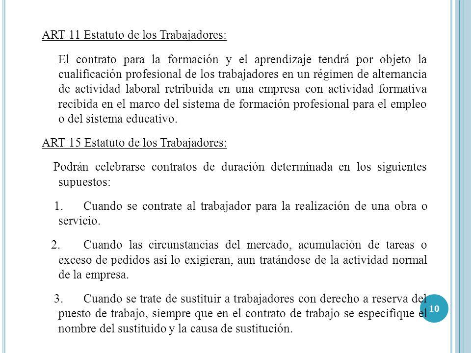10 ART 11 Estatuto de los Trabajadores: El contrato para la formación y el aprendizaje tendrá por objeto la cualificación profesional de los trabajado