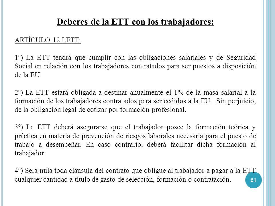 21 Deberes de la ETT con los trabajadores: ARTÍCULO 12 LETT: 1º) La ETT tendrá que cumplir con las obligaciones salariales y de Seguridad Social en re