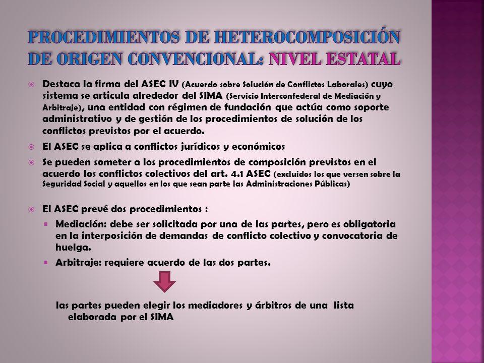 Destaca la firma del ASEC IV (Acuerdo sobre Solución de Conflictos Laborales) cuyo sistema se articula alrededor del SIMA (Servicio Interconfederal de