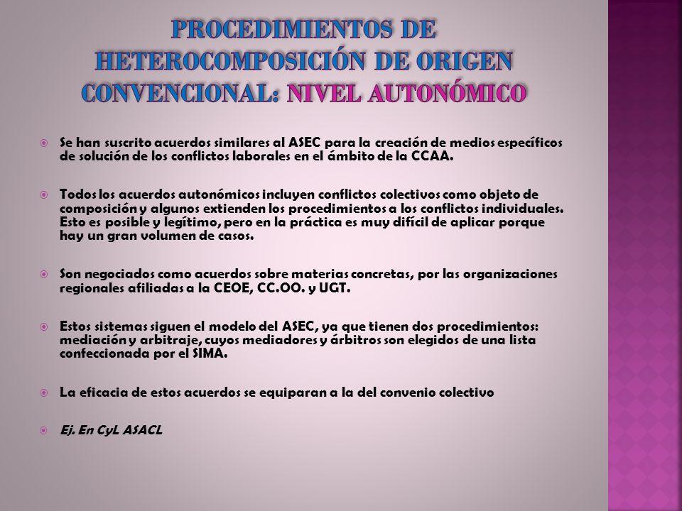 Se han suscrito acuerdos similares al ASEC para la creación de medios específicos de solución de los conflictos laborales en el ámbito de la CCAA. Tod