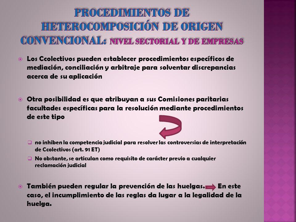 Los Ccolectivos pueden establecer procedimientos específicos de mediación, conciliación y arbitraje para solventar discrepancias acerca de su aplicaci