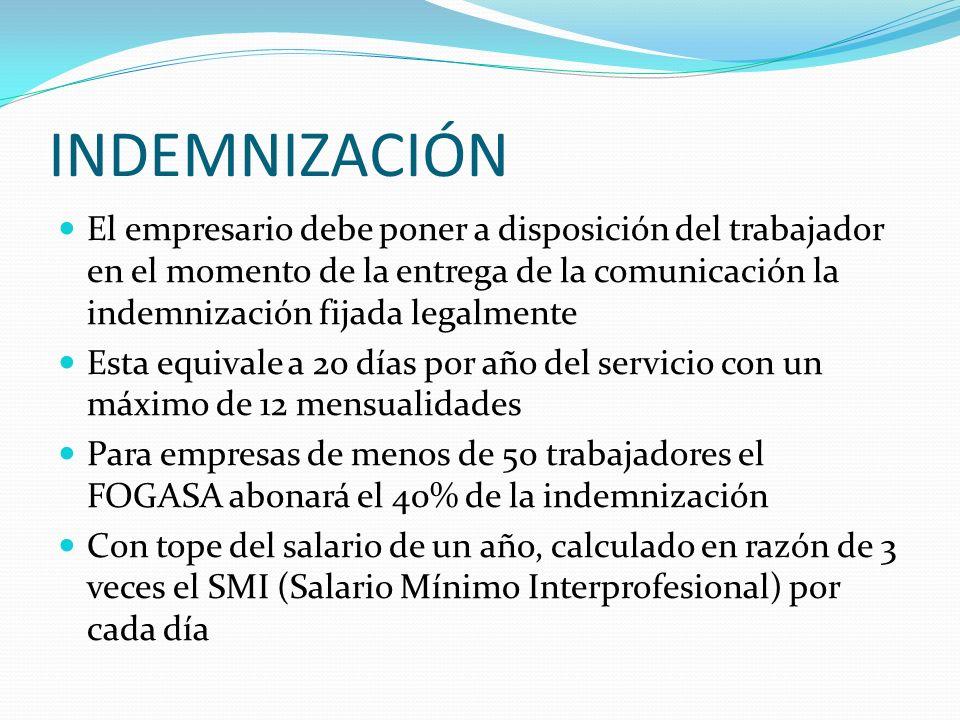 REQUISITOS FORMALES DEL DESPIDO OBJETIVO ART. 53 ET Comunicación por escrito al trabajador Expresar motivada y claramente la causa de despido. Preavis