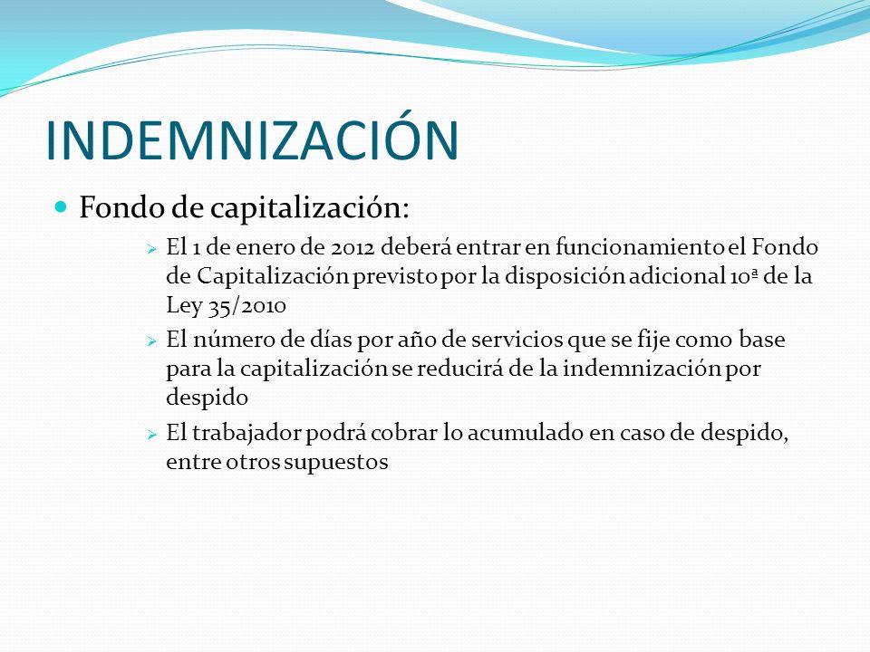 INDEMNIZACIÓN Resarcimiento de parte de la indemnización por el Fondo de Garantía Salarial (FOGASA) Cuando se extinguen: Contratos de carácter indefin