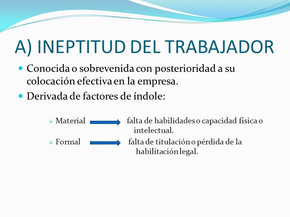 CAUSAS ART. 52 DEL ET a) Ineptitud del trabajador b) Falta de adaptación a las modificaciones técnicas c) Amortizaciones de puestos de trabajo d) Por