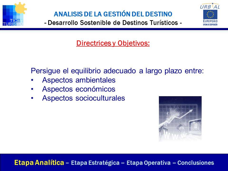 ANALISIS DE LA GESTIÓN DEL DESTINO - Desarrollo Sostenible de Destinos Turísticos - Directrices y Objetivos: Etapa Analítica – Etapa Estratégica – Eta